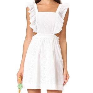 White eyelet Madewell ruffled pinafore dress